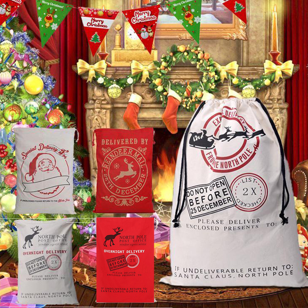 christmas santa sack xmas gift sack stocking storage burlap bag wholesale price - Burlap Christmas Decorations Wholesale