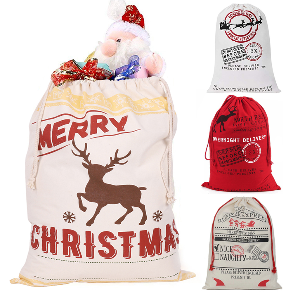 edf55c2a214 1-50X Wholesale Large Canvas Christmas Santa Sack Special Delivery Xmas  Gift Bag