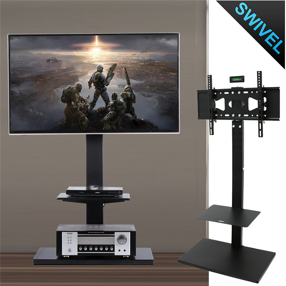 Adjustable Floor Tv Stand Swivel W 2 Shelf For 32 60 Sony Samsung