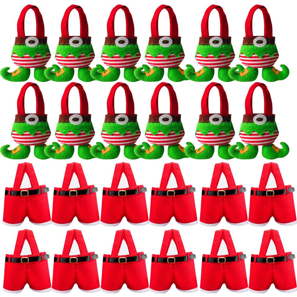 12 Santa Pants/Elf Christmas Candy Bags Wine Stocking Bottle Gift ...