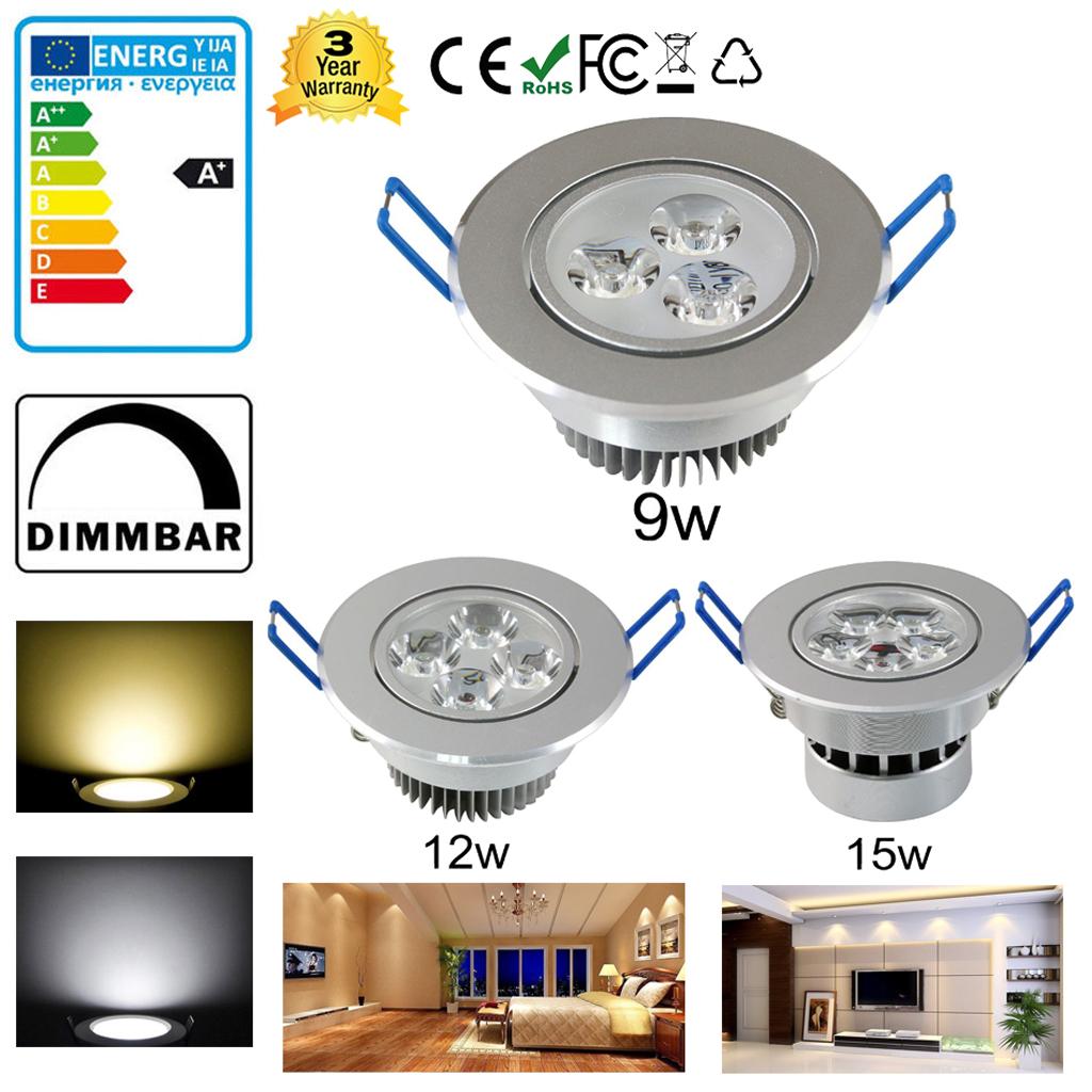 Dimmable 9w 12w 15w Led Encastr 233 Plafond Downlight Lampe