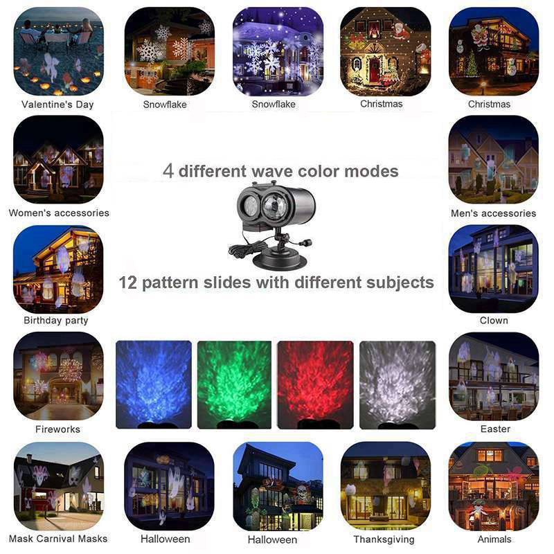 48 Pattern Led Laser 2 Projector Lights Xmas Halloween