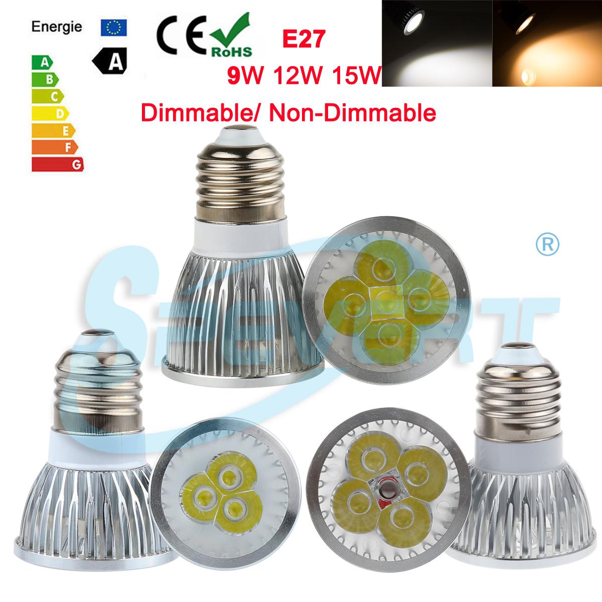 E27 9w 12w 15w dimmerabile led faretti lampada spot luci for Faretti basso consumo