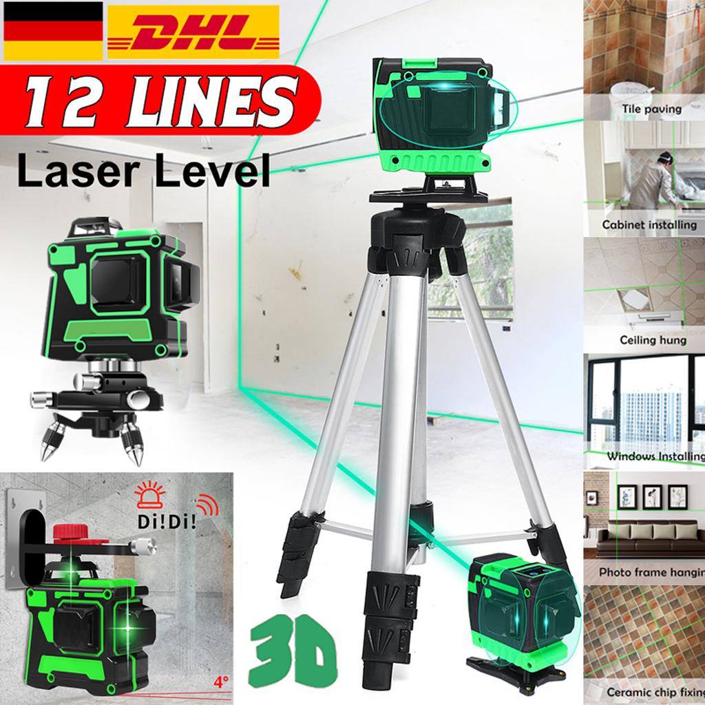 12 Line Laser Level Green Self Leveling 3D 360° Rotary Cross Kreuzlinienlaser