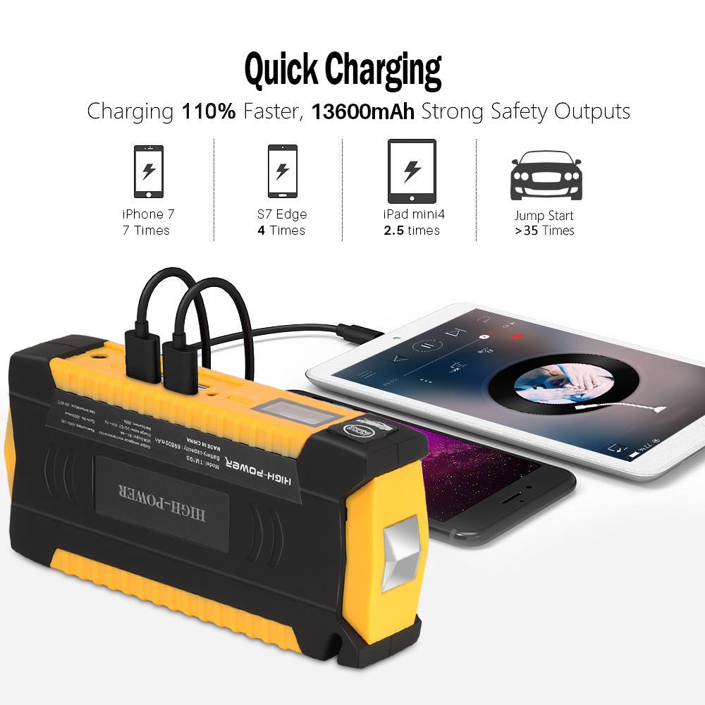 Kit de d/émarrage voiture Booster batterie de secours portable 13600mAh
