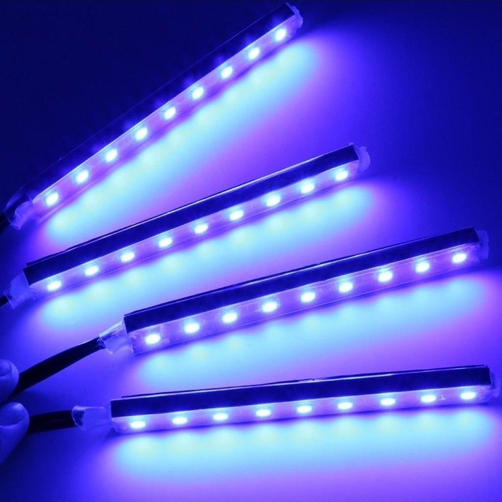 4stk 9 led blau streifen strip lichterkette lampe licht auto kfz motorrad deko ebay. Black Bedroom Furniture Sets. Home Design Ideas