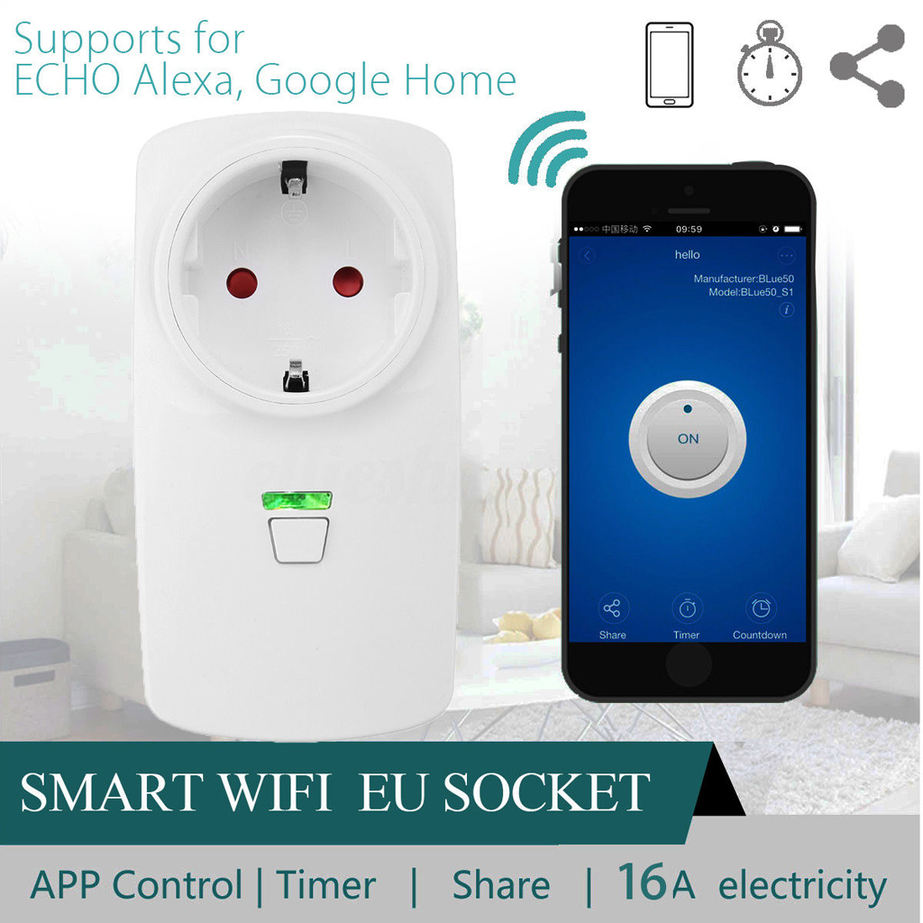 16a Ac Smart Wifi Alexa App Remote Control Timer Switch Power Socket Timerswitch For Radio Applications Outlet Plug Home Saftey