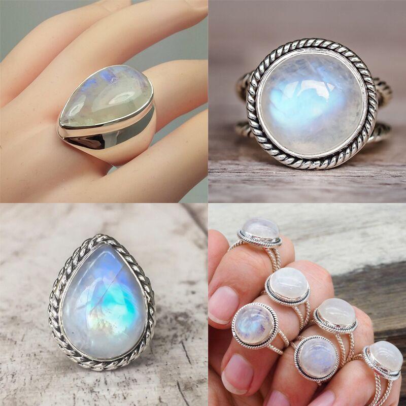 Antique 925 Silver Big Rare Moonstone Ring Round Teardrop Wedding Jewelry Sz5-11