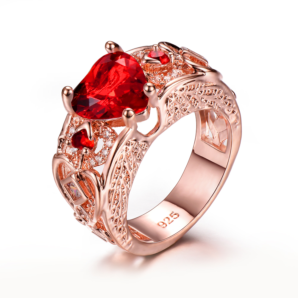 Red Ruby Rose Gold Heart Angel Wings Ring Womens Wedding Jewelry ...