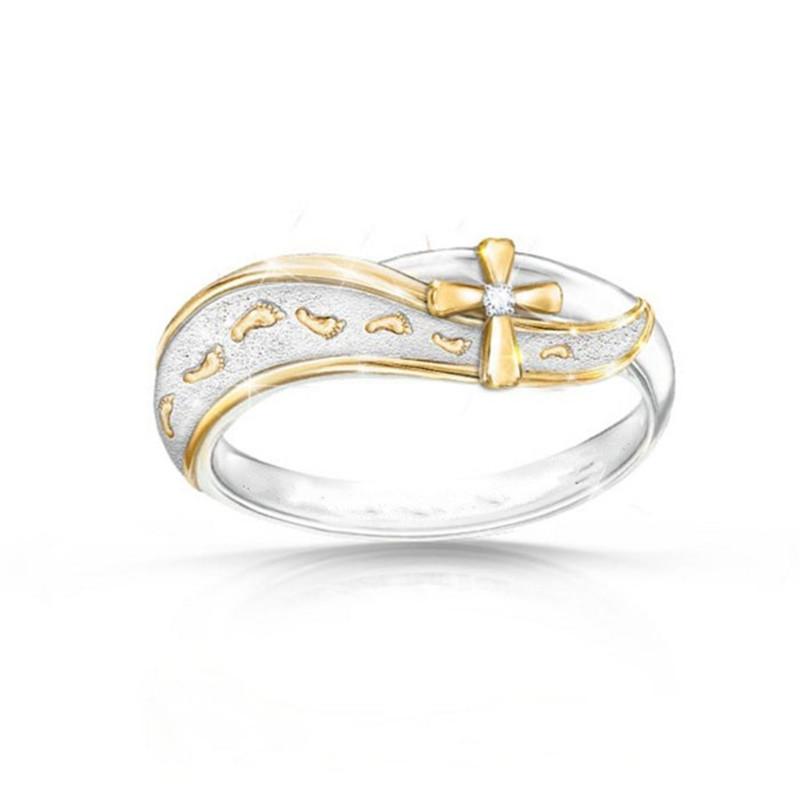 Gift Fashion Dual Color Jewelry  Cubic Zirconia Footprint Cross Ring Wedding