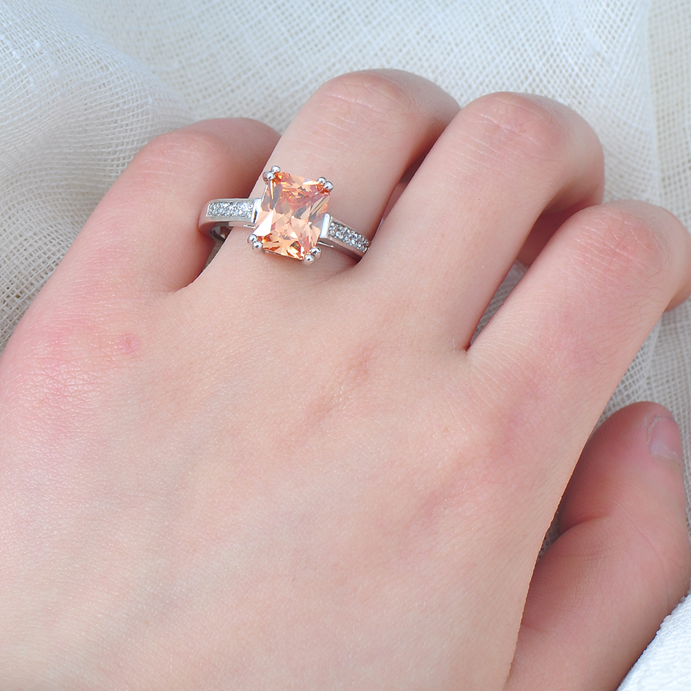 Jewelry Ring Size 8 Champagne Topaz Women\'s 10Kt White Gold Filled ...