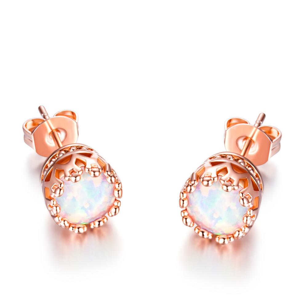 Cute Round Cut White Fire Opal Rose Gold Stud Earrings Crown Ear ...