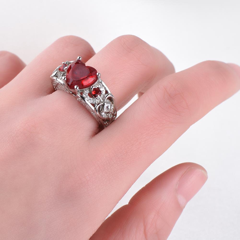925 Silver Heart Cut Garnet Angel Wing Women Rings Wedding Band ...