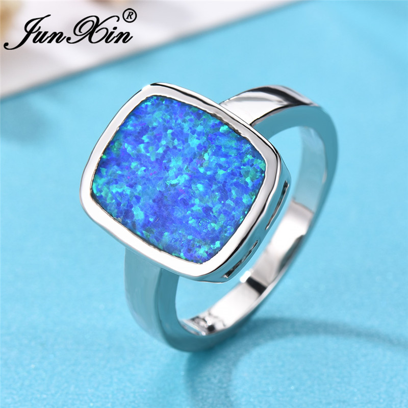 925 Silver Square Shape Fire Opal Rings Wedding Engagement Opal Stone Jewelry