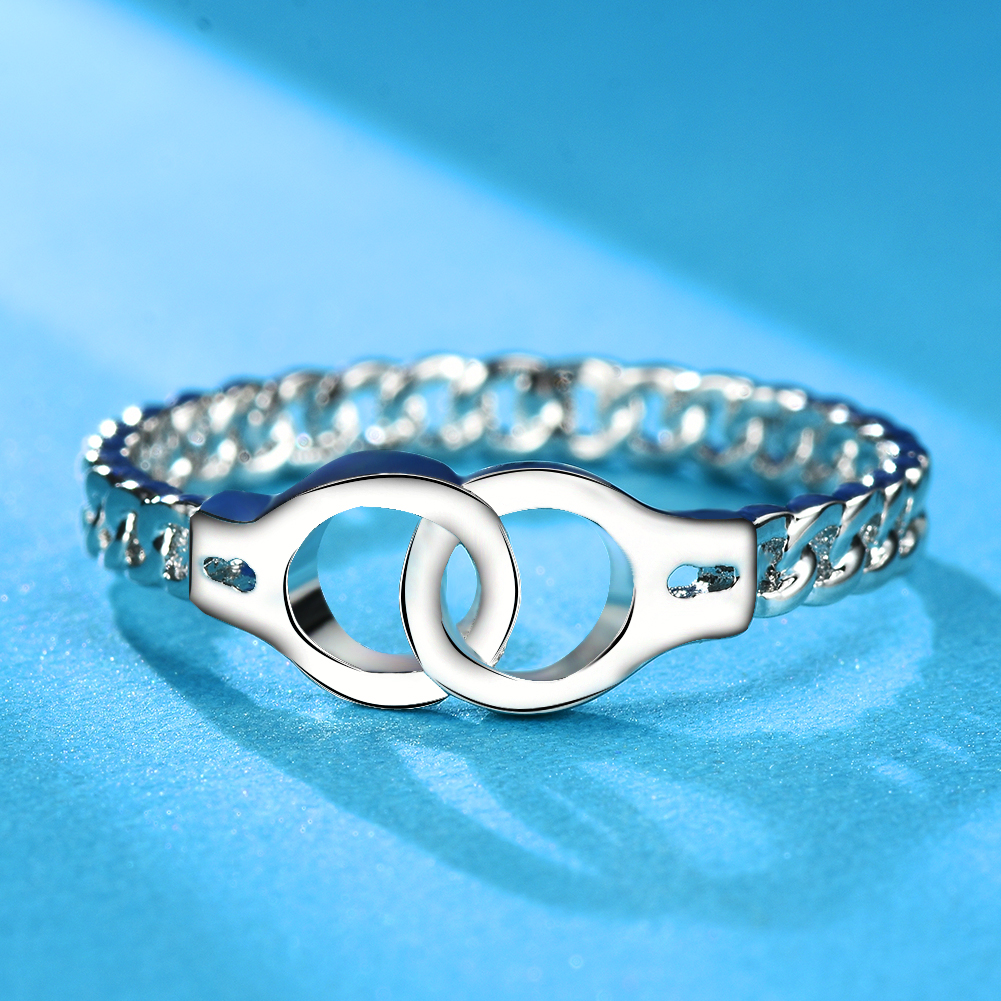 6 Handcuffs White Gold Chain Promise Ring Women Silver Wedding Jewelry Gift