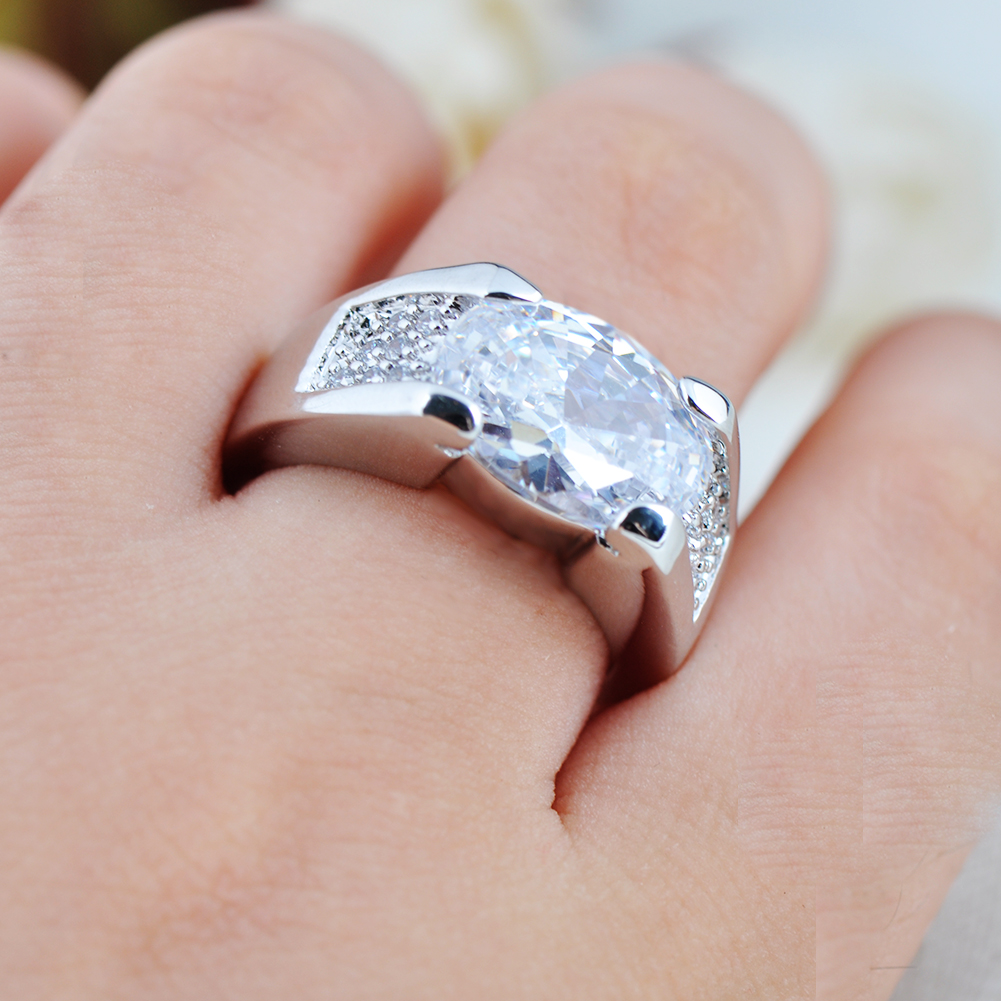 Fat Silver Zircon Engagement Band Ring Women\'s 10Kt White Gold ...