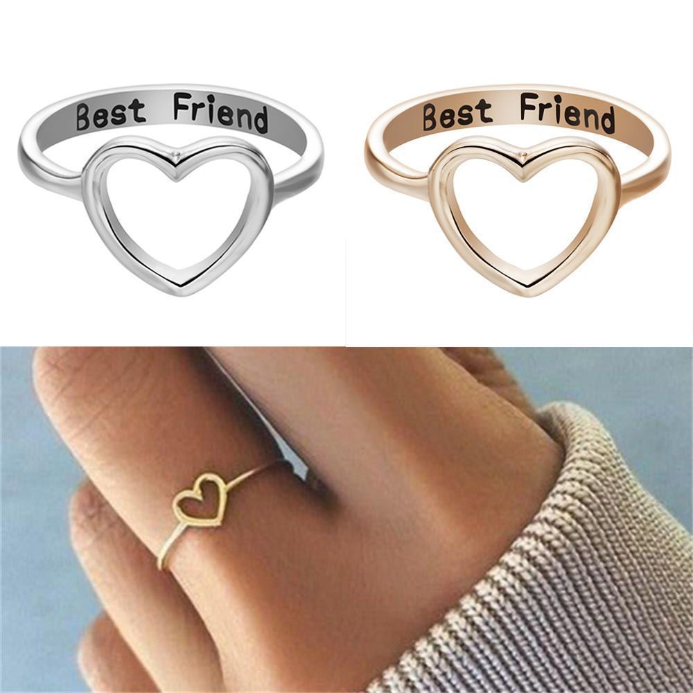3997ade6f0f4a Stainless Steel Love Heart Best Friend Ring Promise Jewelry ...