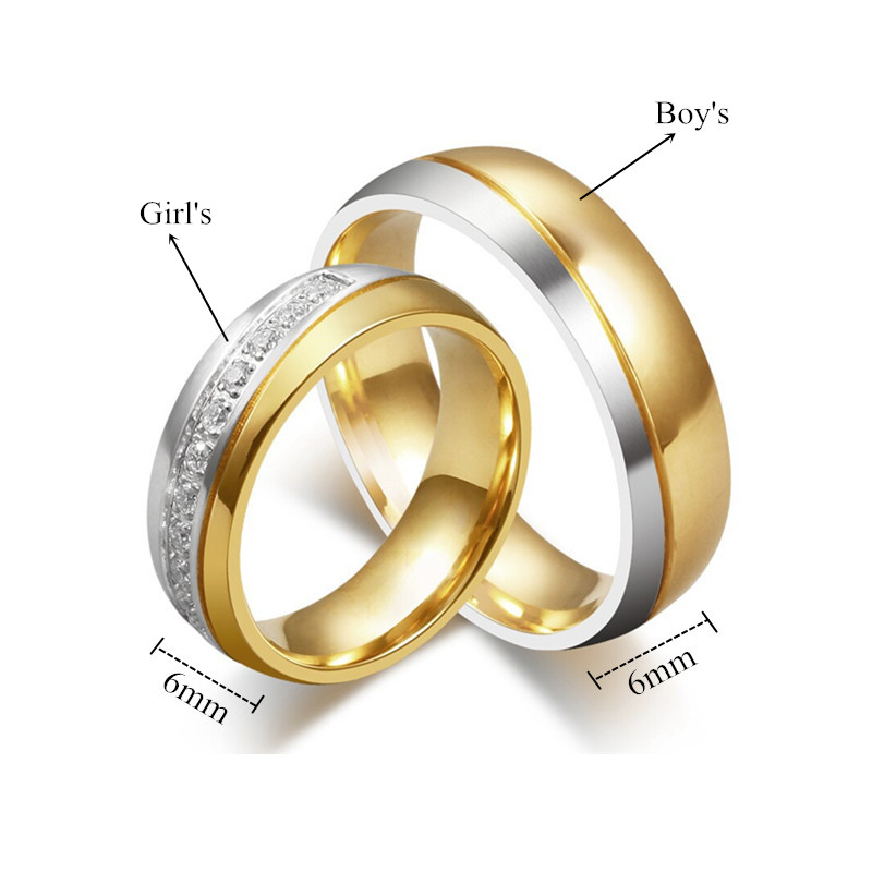 Cz Couple Titanium Steel Ring Men Women S 18k Gold Plated Wedding Band Size 5 13 Ebay