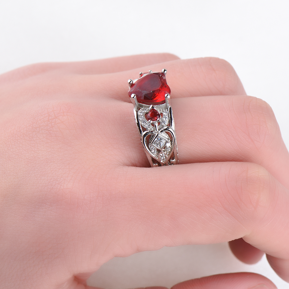925 Silver Red Ruby Gemstone Birthstone Wedding Engagement Heart ...