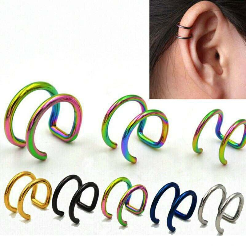 1PC Steel Earring Cuff Fake Helix Cartilage Rings Gold Fake Clip On Lip Ring