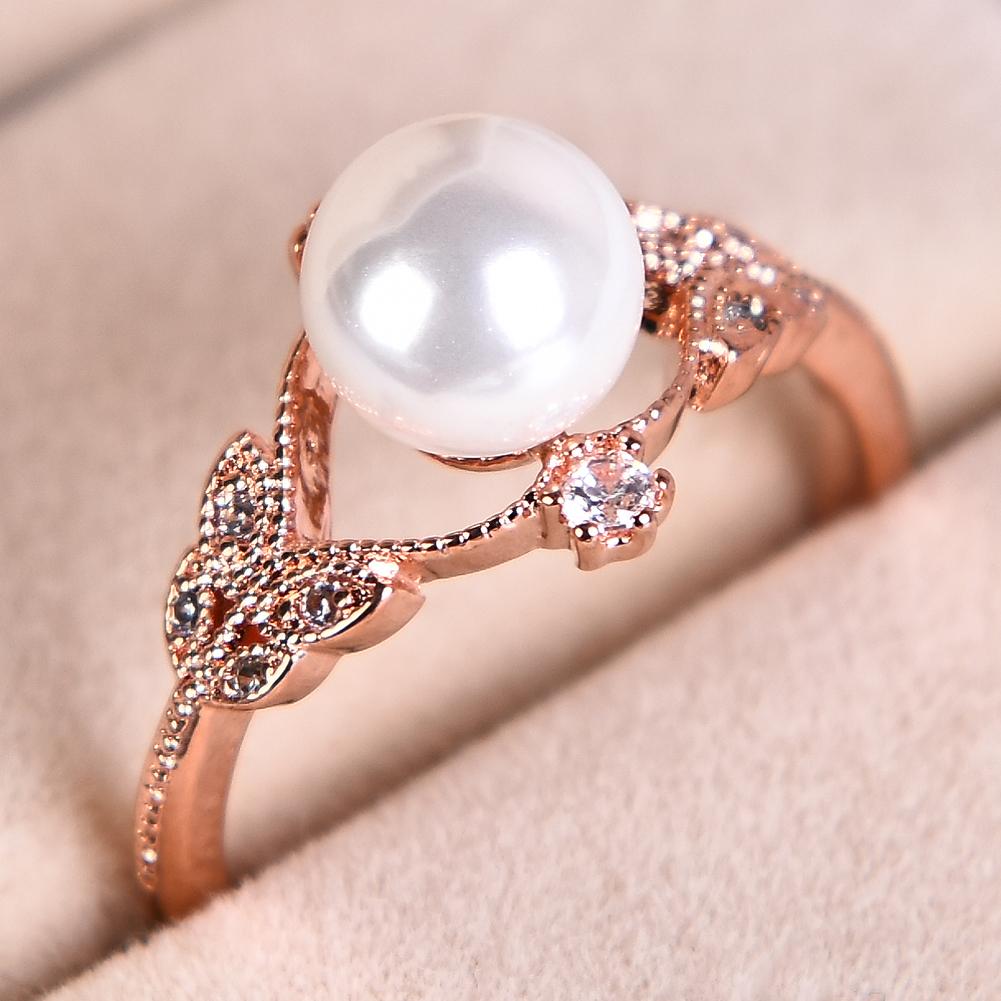 Elegant Ladies White Pearl Rings Leaf Shape Rose Gold CZ Wedding ...