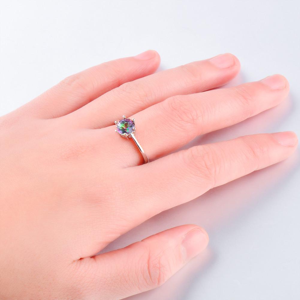 Round Six-claw Rainbow Sapphire White Gold Ring Women\'s Anniversary ...