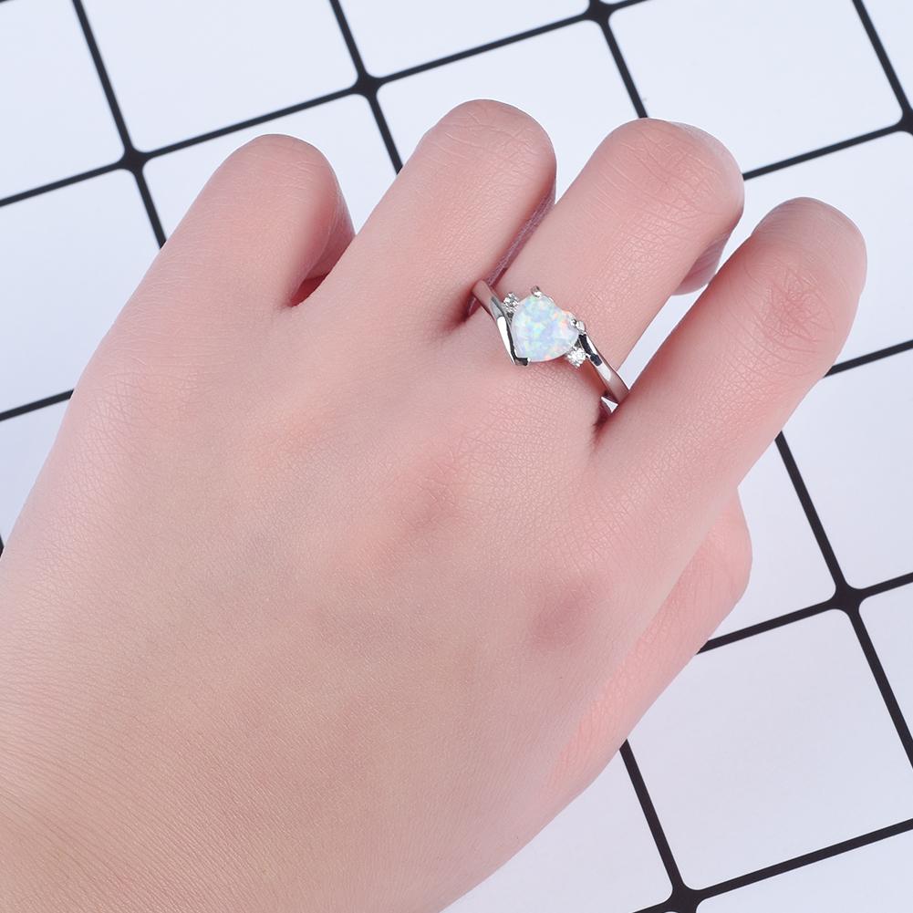 Cute Heart Cut White Fire Opal CZ Wedding Band Ring White Gold ...