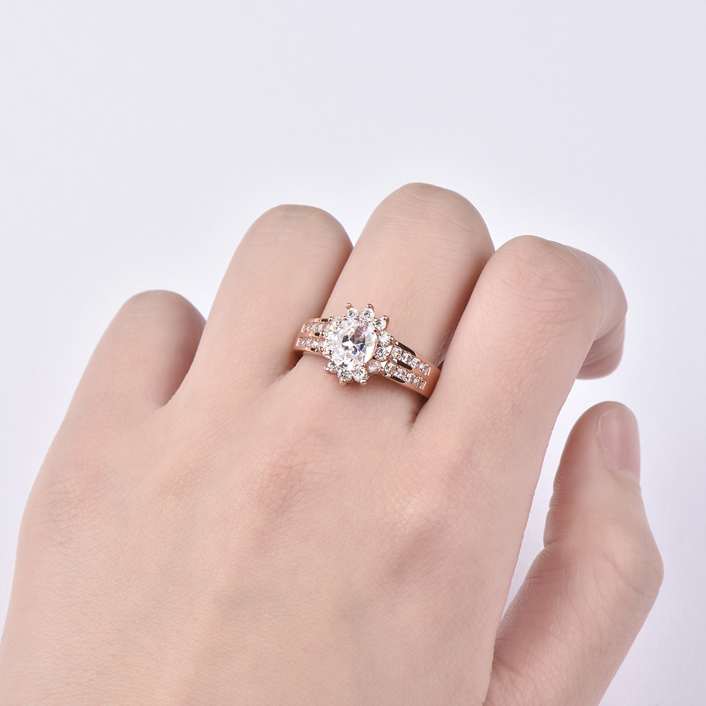 Oval Cut White Sapphire Engagement Rings Rose Gold Flower Wedding ...