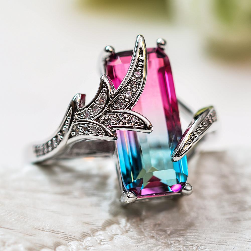 Unique Leaf Gradient Rectangle Cut Rainbow Topaz Ring 925 Silver Wedding Jewelry