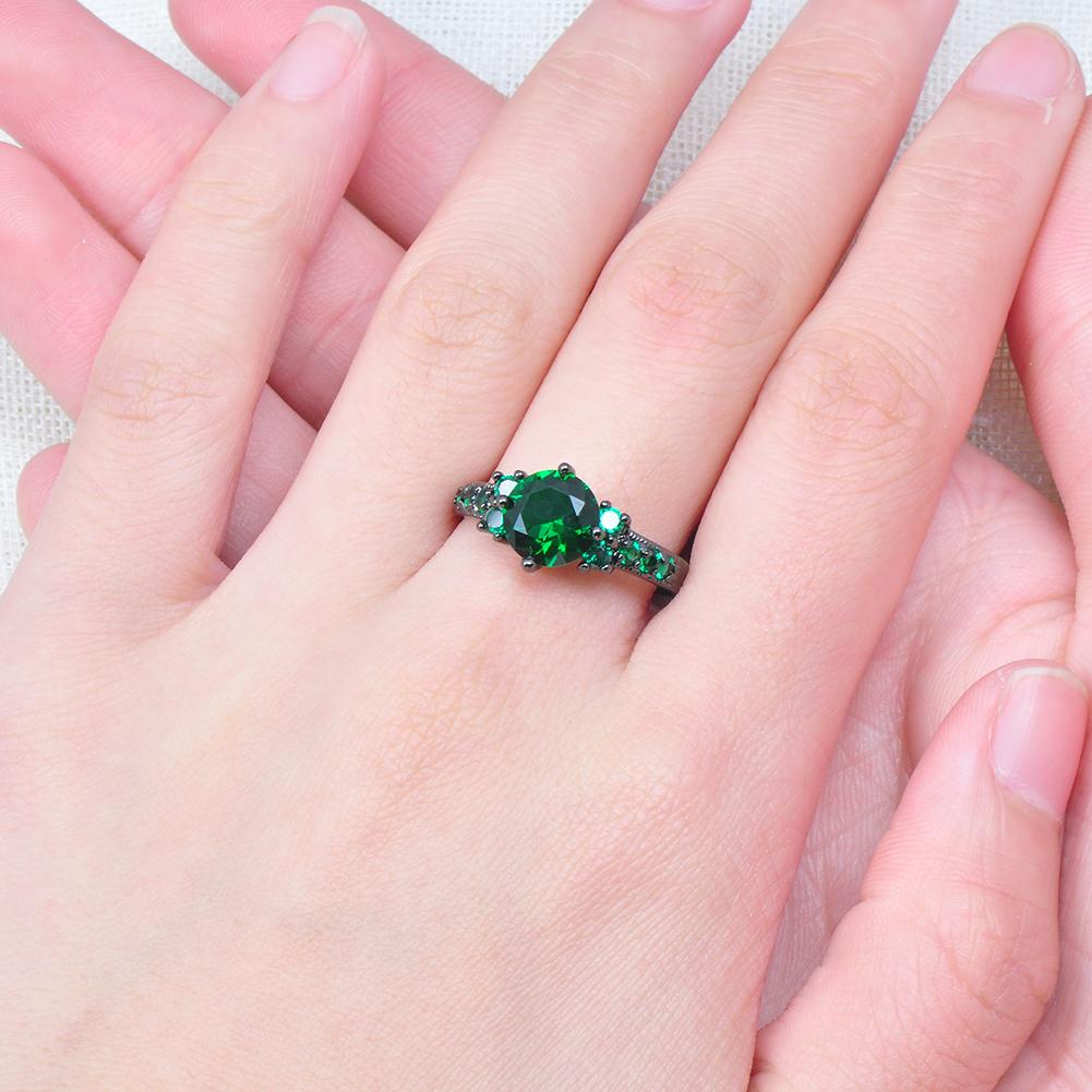 8mm Green Emerald CZ Ring 10KT Black Gold Filled Wedding ...
