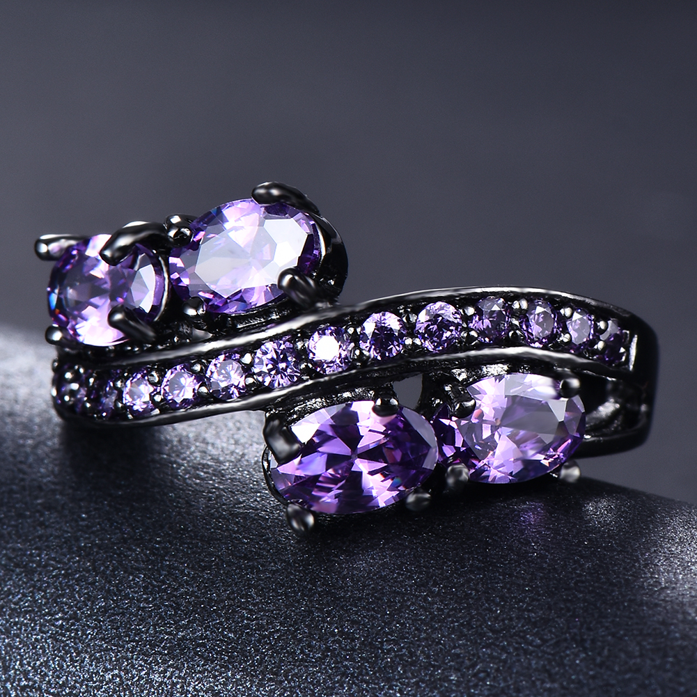 Elegant Oval Purple Amethyst Wedding Ring 10kt Black Gold Jewelry