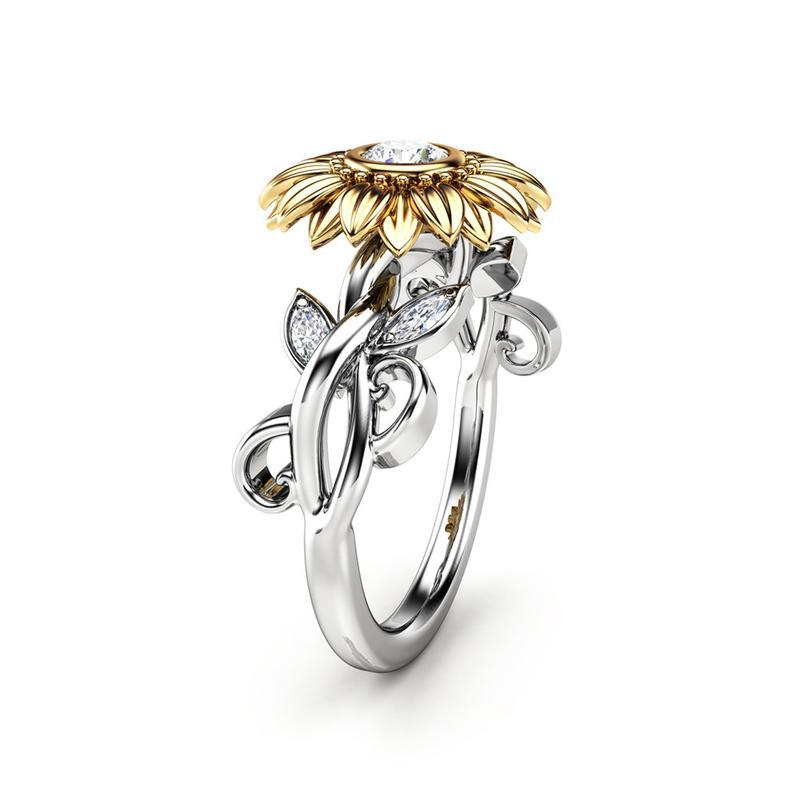 Unique Women 925 Silver Plated Two Tone Round White Sapphire Sunflower Ring Gift