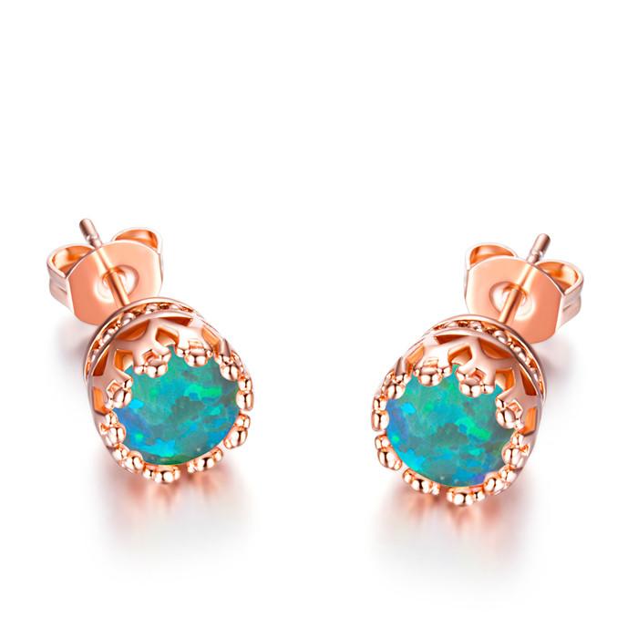 Fashion-Cute-Rose-Gold-Stud-Earrings-Womens-Luxury-Round-Fire-Opal-Ear-Studs
