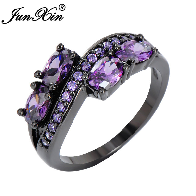 Oval Cut Purple Amethyst Wedding Band Engagement Ring