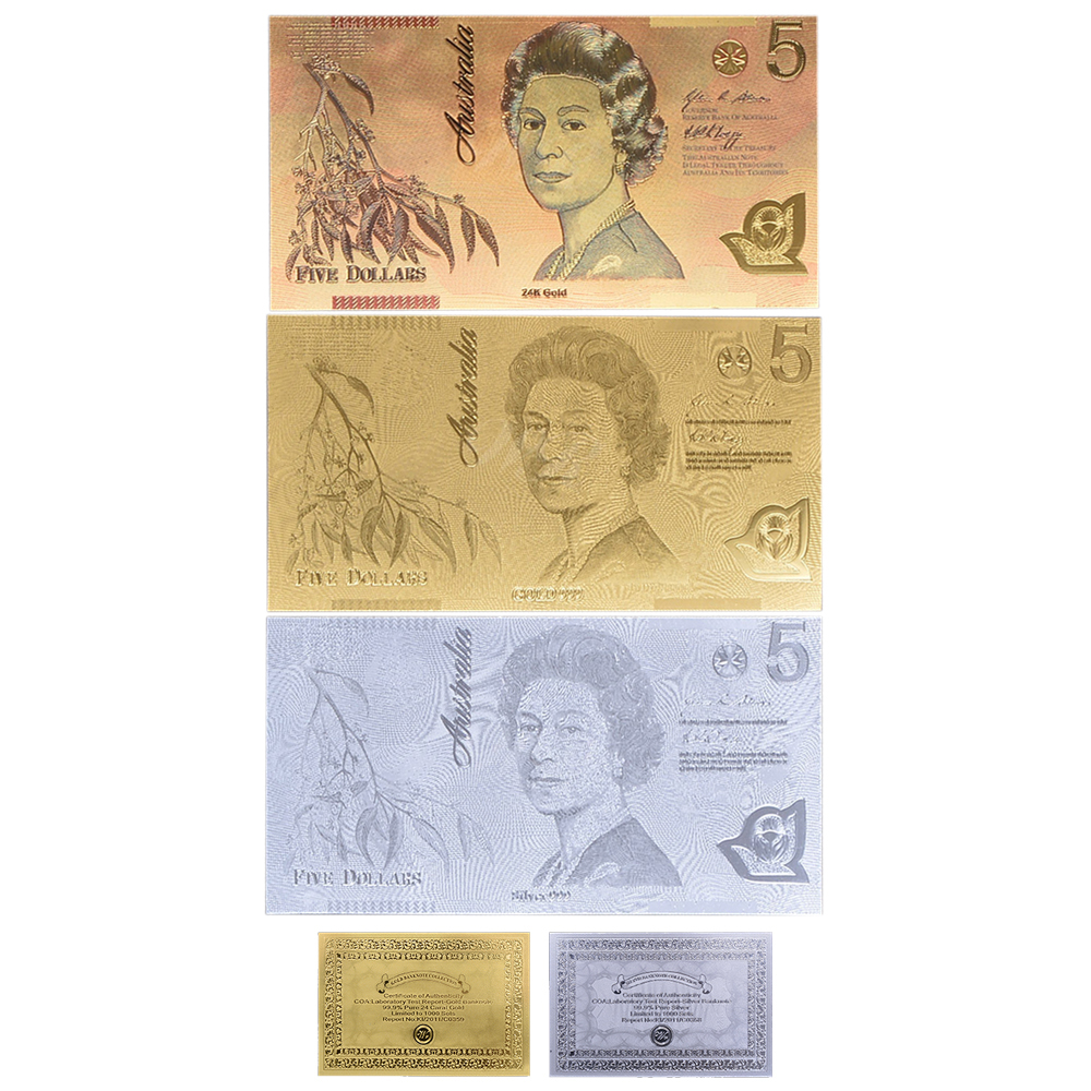 AUSTRALIA BANK NOTE 7 COLOURED 24K GOLD BANKNOTES OLD PAPER STYLE SET