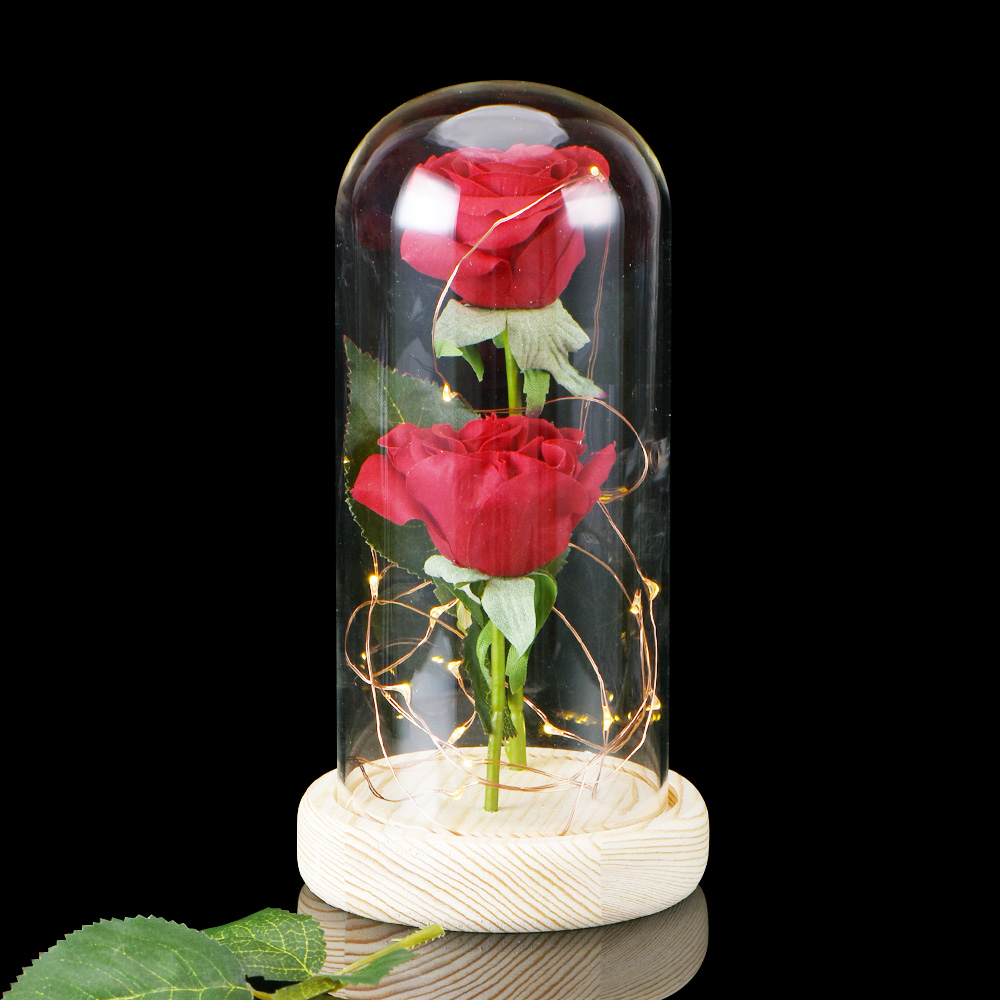 wr beauty and the beast enchanted red rose glass dome lamp valentine 39 s gifts her ebay. Black Bedroom Furniture Sets. Home Design Ideas