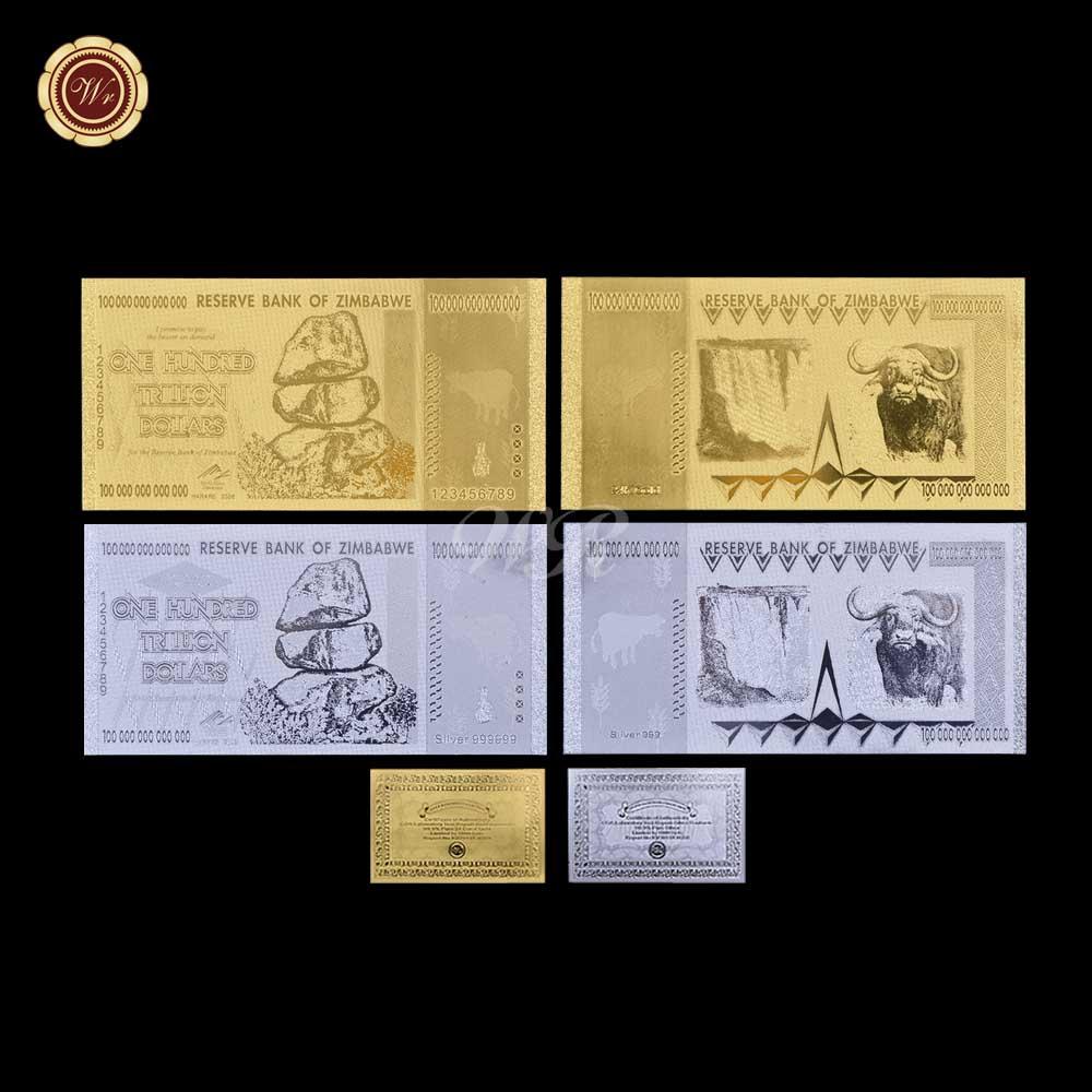 WR 2X Zimbabwe 100 Trillion Dollars Bundle  24K GOLD SILVER Banknote Set COA