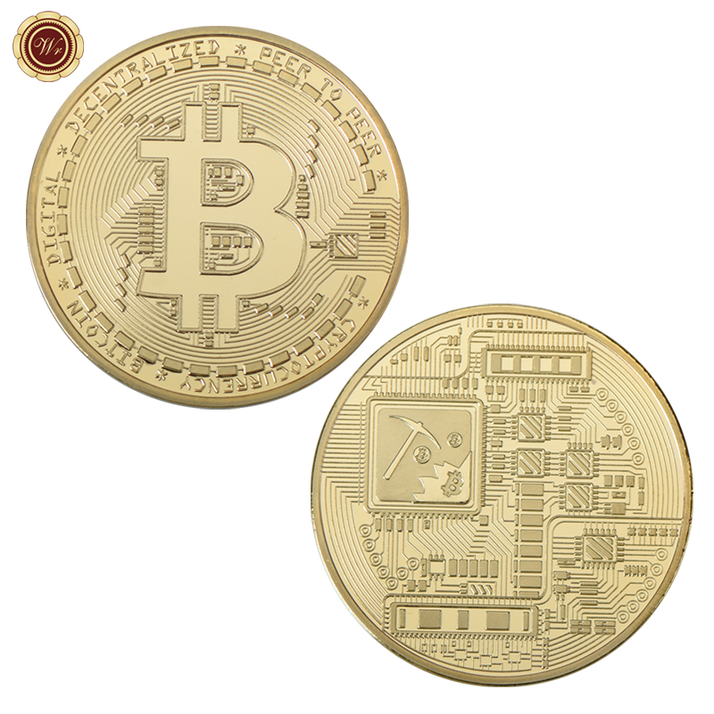 WR Bitcoin Physical Gold BTC Commemorative Coin //w Wood Base In Box Gift For Him