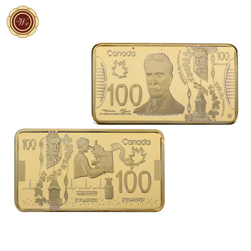 Details about WR Canada 100 Dollars Bill 24K Gold Bullion Bar Bussiness  Office Gift Men