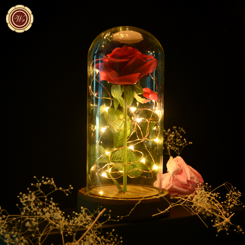 Beauty /& The Beast Disney Enchanted Red Rose Glass Dome Lamp Free Gift Bag
