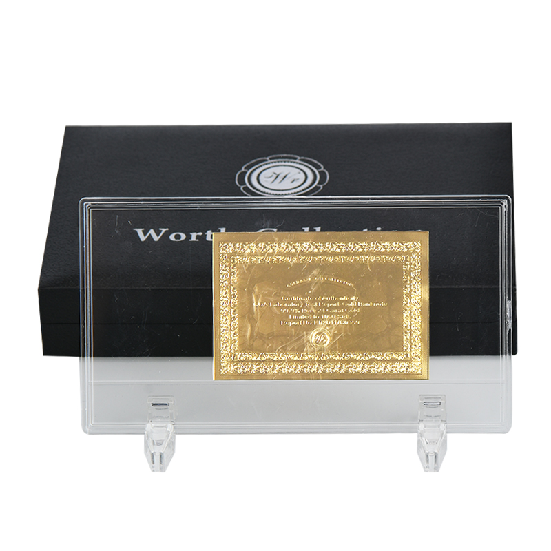 Wr Paper Money Currency Holder Case Gold Banknote Display