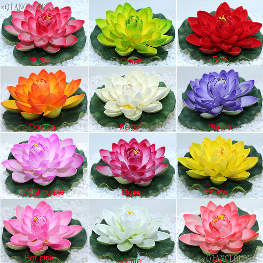 5pcs Pink Artificial Fake Lotus Flower Water Lily Leaf Pood Flowers