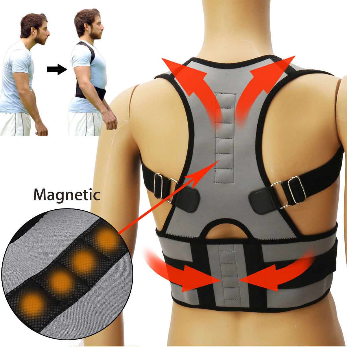 Details about Men / Women Adjustable Posture Corrector Brace Shoulder Back Support Belt