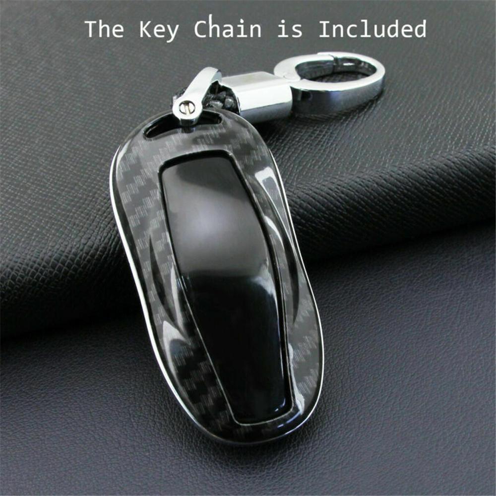 Carbon Fiber Car Key Fob Chain Cover Case Holder For Tesla ...
