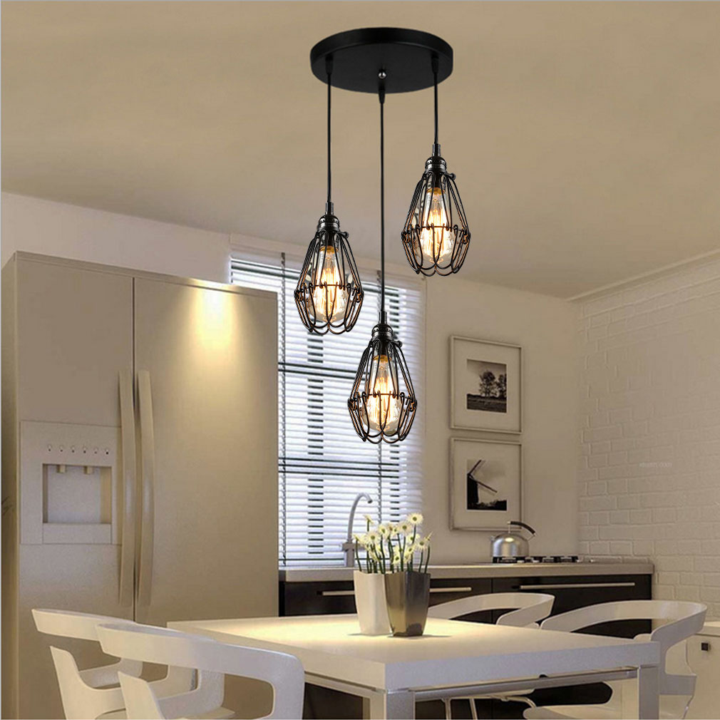 3way retro industrial metal bird cage ceiling lampshade chandelier 3way retro industrial metal bird cage ceiling lampshade chandelier light pendant aloadofball Image collections