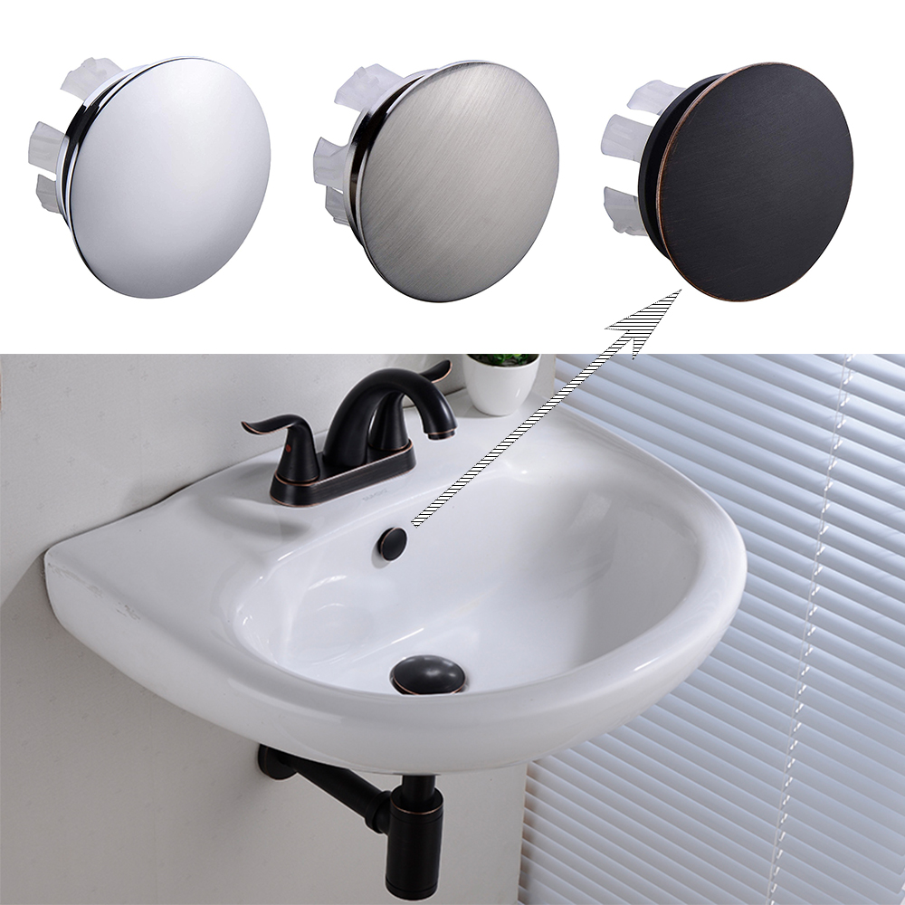 Details About Brass Sink Overflow Cap Round Hole Cover For Bathroom Basin Chrome Bn Orb Finish