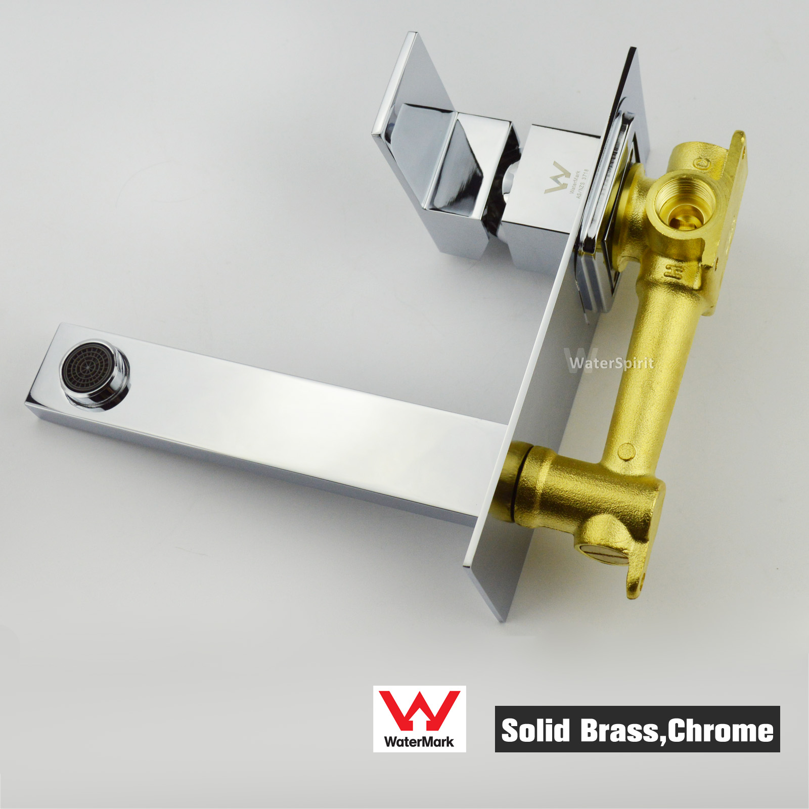 Wels Brass Chrome Square Sink Vanity Basin Mixer Spout