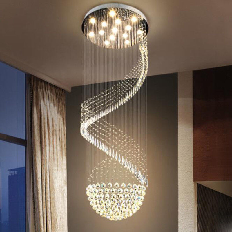 Details About Modern Chandelier Led Crystal Light Ceiling Villa Stairs Lighting Fixtures 6709