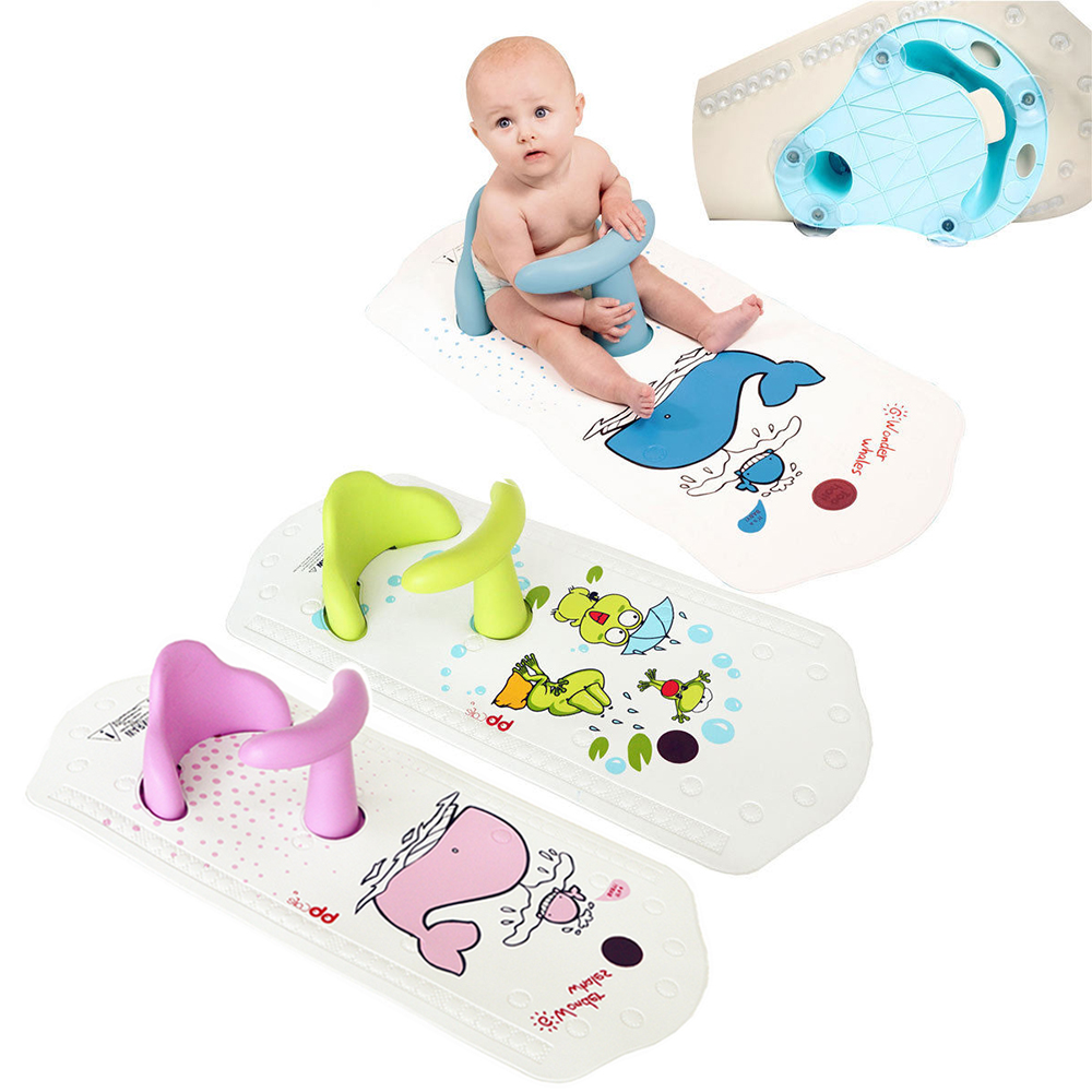 Cute Baby Safety Bath Seat & Extra Long Non-Slip Bath Mat with ...