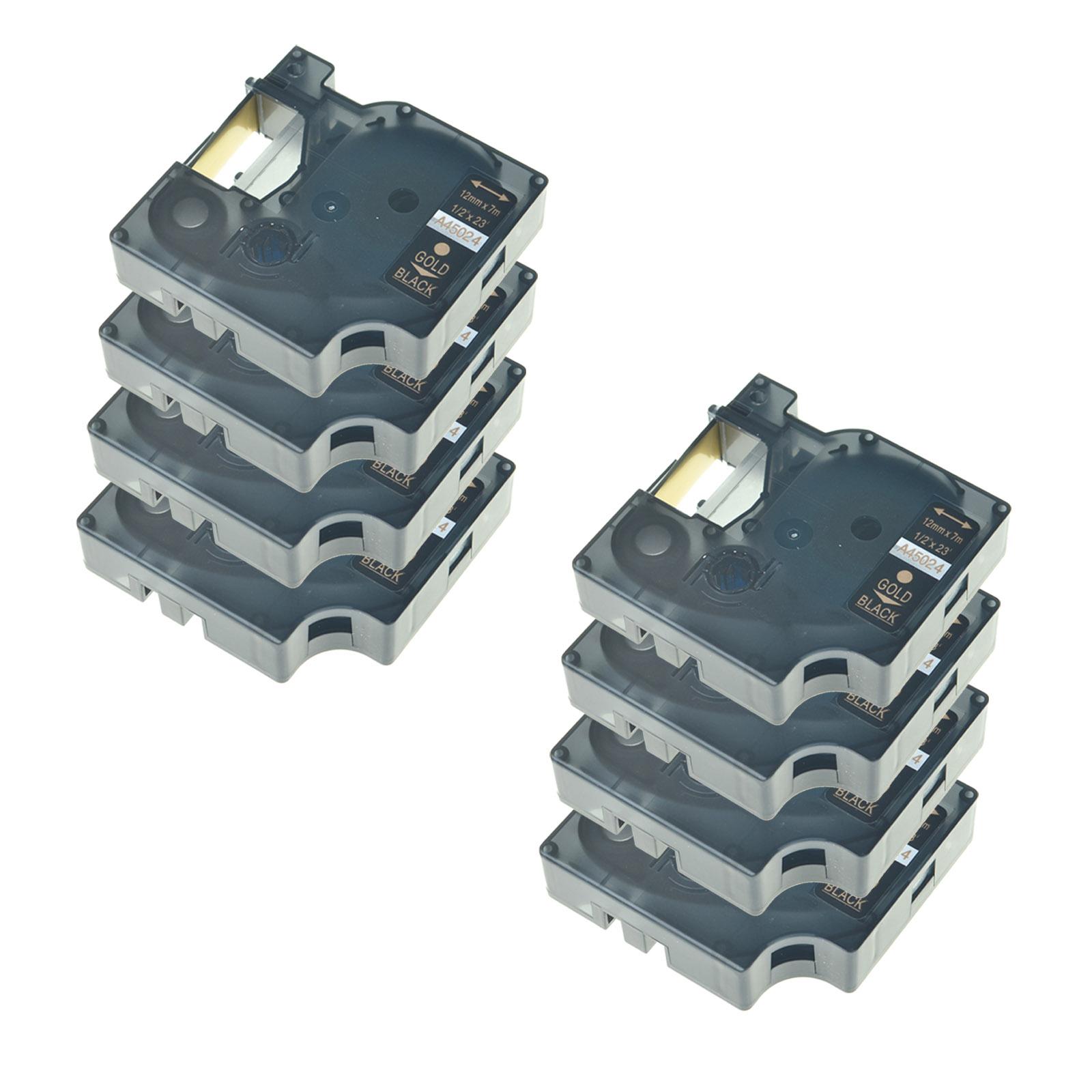 "8PK 40913 Black on White Label Tape For DYMO D1 Labelmanager 210D Printer 3//8/"""
